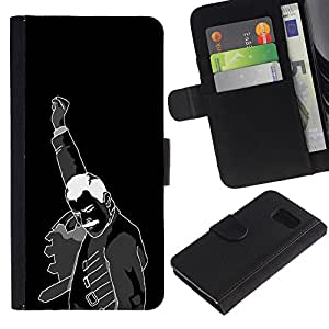iKiki Tech / Cartera Funda Carcasa - Fist Revolution Man Black White Poster Art - Samsung Galaxy S6 SM-G920