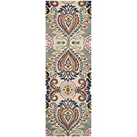 Safavieh Bella Collection BEL118A Handmade Ivory and Blue Premium Wool Runner (23 x 9)