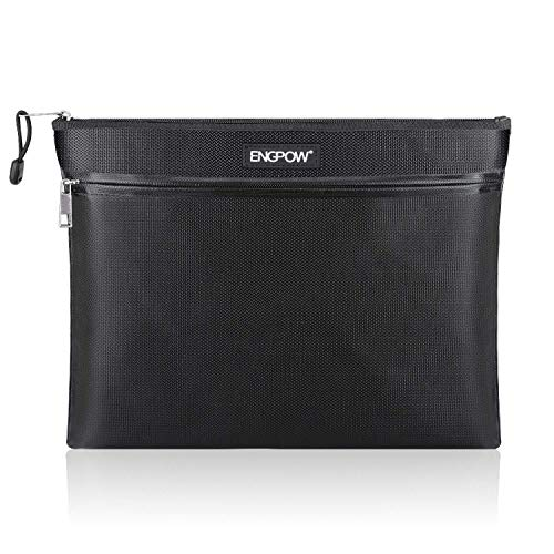 "Fireproof Document Bag Two Pockets Two Zippers,ENGPOW Fireproof Safe Bag 13.4""x 10.2"" Waterproof and Fireproof Money Bag Fire Safe Pouch File Storage for A4 Document Holder,Cash and Tablet"