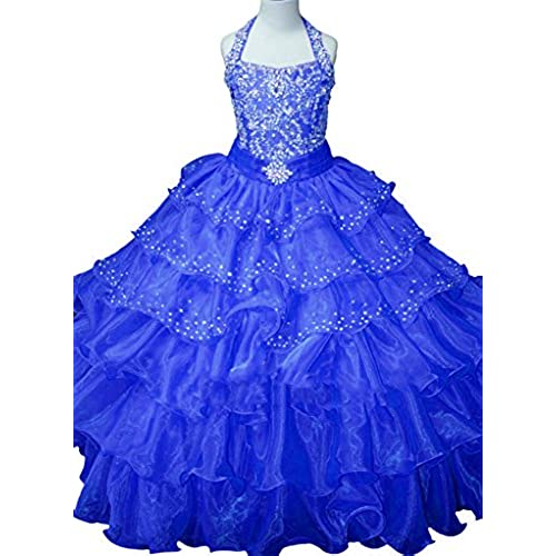 Yc Princess Lilac Long Girls Pageant Dresses Kids Prom Puffy Tulle Ball Gown 14 US Royal Blue