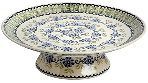 - Polish Pottery Floral Fern Blue Green Ceramic Cake Stand, 12.5