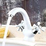 White Brass Spray Paint Basin Faucet Dual Handle Vessel Sink Mixer Tap Hot