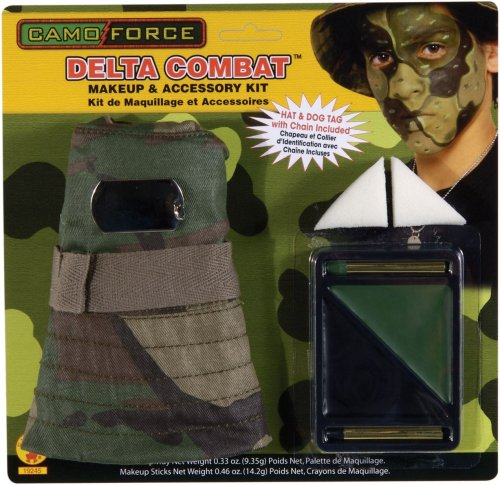 Camo Force Delta Combat Makeup Kit with Hat and Dog Tag