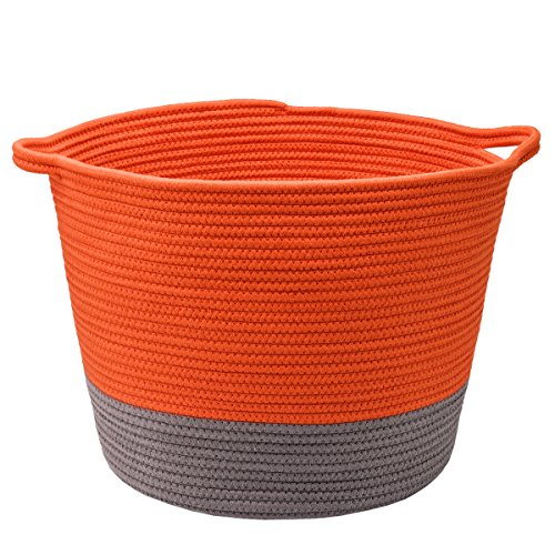 LoongBaby Large Orange Cotton Rope Basket, Laundry Hamper and Storage For Toys Storage or as Flowerpot