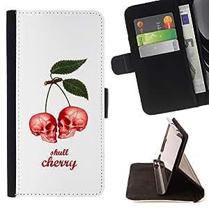 Momo Phone Case / Flip Funda de Cuero Case Cover - Cereza Blanco Cráneo Rojo bayas lindas - Samsung Galaxy Note 4 IV