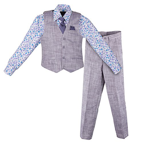 Vittorino Boy's Linen Look 4 Piece Suit Set With Vest Pants Shirt and Tie, Plum - Floral, (Floral Plum)