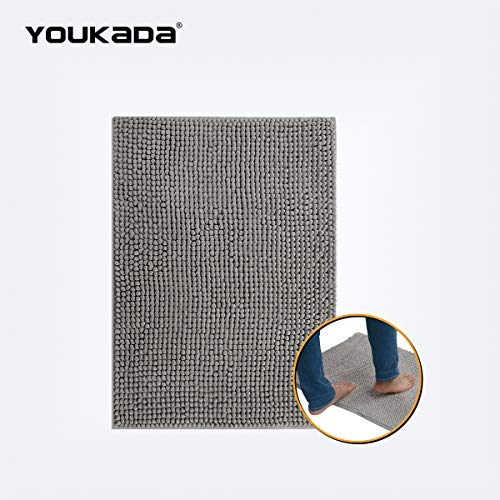 - YOUKADA Original Luxury Chenille Bathroom Rug Mat (30 x 20), Extra Soft and Absorbent Shaggy Rugs, Machine Wash/Dry, Perfect Plush Carpet Mats for Tub, Shower, and Bath Room, Gray