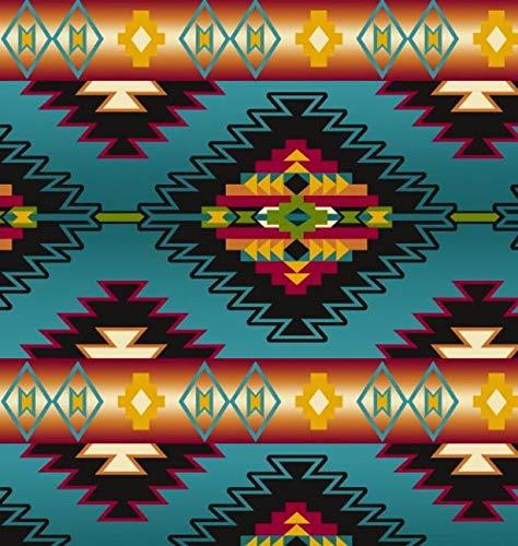 Native Stripe Turquoise Native American Fleece Fabric - 60