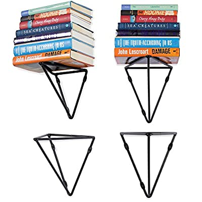 Wallniture Prismo Set of 4 Geometric Wall Mount Heavy Duty Large Prism Brackets for Floating Shelf - Bookshelf - DIY Book Display Shelving Triangle Wrought Iron Metal Black - Triangle Book Shelf in the Perfect Size: If you need a custom size bookshelf to beautifully blend in with your wall space, these brackets are for you. Each flat shelf horizontal bracket is 13.75 x 11 x 10 x 8 inches and the iron material is built to hold a substantial amount of weight. Unique Wall Decor and Simple Installation: This bundle offer is great for creating a large geometric wall bookshelf that will house all your books and dress up your bare walls with ease. The hanging brackets for shelf come with strong metal anchors DIY Enthusiast Farmhouse Home Decoration: These prisma wall wire metal shelf mounting brackets are great for creating a bookshelf, storage solution or any shelving unit of your choice. Organize your entryway, laundry room, kitchen, bathroom, nursery, home office or you can even utilize them inside your closet space. - wall-shelves, living-room-furniture, living-room - 51PGcNLImsL. SS400  -