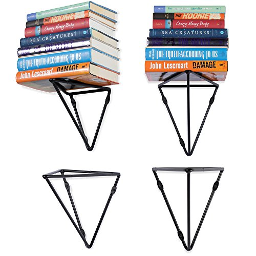 Wallniture Prismo Set of 4 Geometric Wall Mount Heavy Duty Large Prism Brackets for Floating Shelf - Bookshelf - DIY Book Display Shelving Triangle Wrought Iron Metal Black