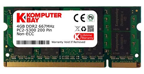Komputerbay 4GB DDR2 SODIMM (200 pin) 667Mhz PC2-5400 / PC2-5300 CL 5.0 1.8v Unbuffered NON-ECC DDR2-667 Memory ()