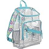 Eastsport Clear Top Loader Backpack, Minty Blue/Spike Chevron Print