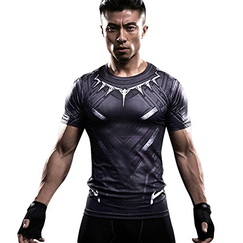 HOCOOL Men's Compression Fithness Tee,Black Panther Slim Gym Runing Shirt S -