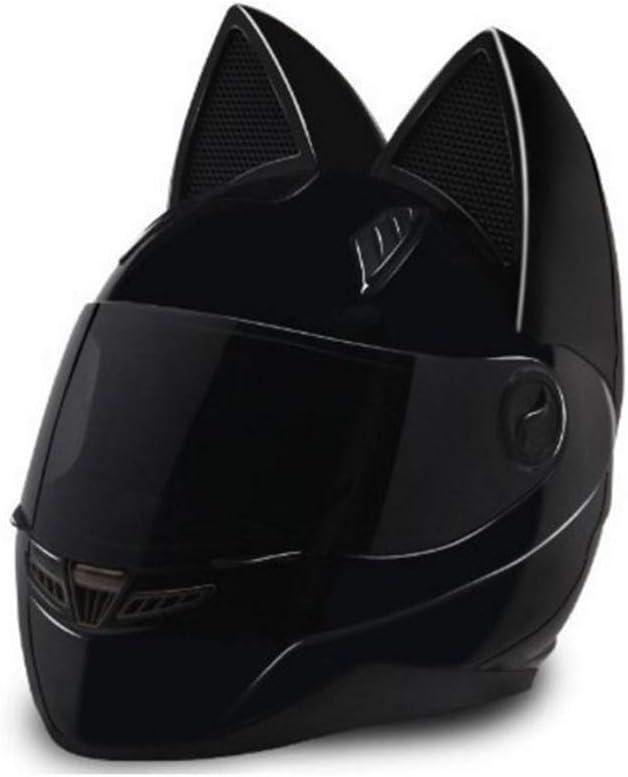 オートバイのヘルメット猫の耳夏フルフェイスレーシングオートバイの人格は四季男性と女性のランニングヘルメットをカバー 保護 (Color : 黒, Size : M)