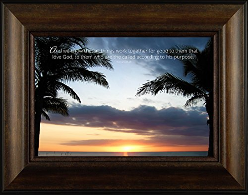 His Purpose By Todd Thunstedt 20×26 Romans 8:28 Inspirational Sunrise Sunset Trees Tropical Island Beach Coconut Tree Bible Verse Quote Saying Jesus Christ Church Framed Art Print Wall Décor Picture