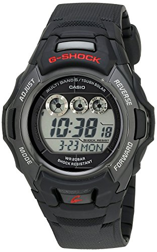 Casio Men's G-Shock GWM530A-1 Tough Solar Atomic Black Resin Sport Watch 2nd Time Zone Black Dial