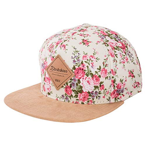 Blackskies Sakura Snapback Hat | Men Women Baseball Cap Floral Dad Strapback Cherry Blossom 5-Panel Hip Hop Urban White Rose