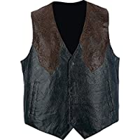 Giovanni Navarre & Trade Hand-Sewn Pebble Grain Genuine Leather Western-Style Vest 2X
