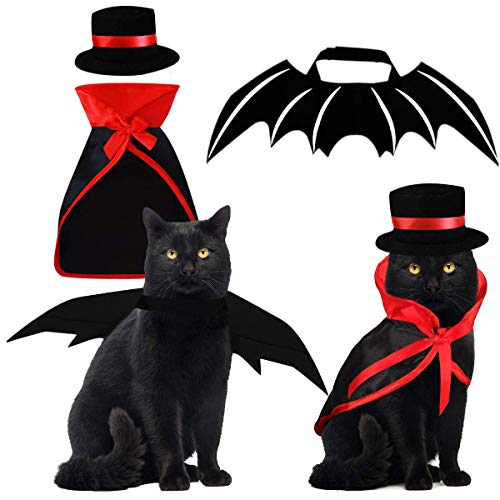Funny Rave Halloween Costumes (Halloween Pet Costumes 3 PCS, Vampire Cloak with Bowler Hat Bat Wings Pet Cosplay Costumes for Small Cats Dogs Funny Holiday Clothing for Black Halloween Night Bloody Zombie Party Rave)