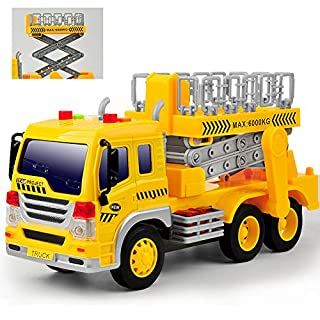 Gizmovine Toy Truck Friction Power with Lights and Sounds, Super Duty Lift Construction Vehicles Pull Back & Go Car Toys for Toddlers Boys, 1:16 Scale