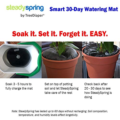 SteadySpring Smart 30-Day Watering Mat for Tomato Plants, Peppers, Veggies, Perennials, Annuals - Self-Fills with Rain (4) by Smart Spring (Image #2)