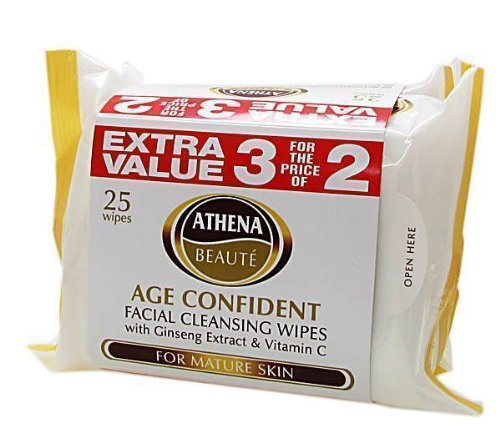 Athena Age Confident Facial Cleansing Wipes for Mature Skin - Pack of 3, Total 75 Wipes ATH0004V