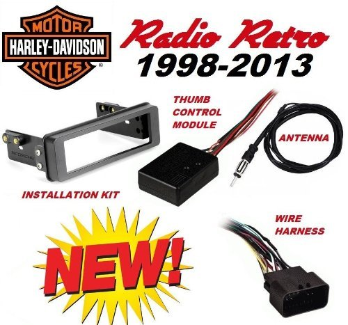 98-2013 Retro Harley Touring Stereo Radio Cd Install Adapter Dash Kit Flht Flhx Flhtc Road Street Electra Glide Cleveland Indians Hitch Cover