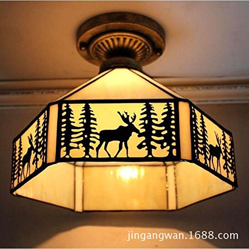 Cttsb ceiling lamp Modern simple creative fashion personalized ceiling light Glass Southeast Asian bronze deer village iron color glass living room dining room A style 6 face - Oblong Glasses Style Face