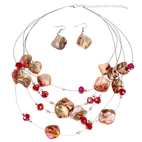 Comelyjewel Fashion Jewelry Girls Red Pink Tone Beads Multi-Strand Statement Women Necklace and Earrings Set ()