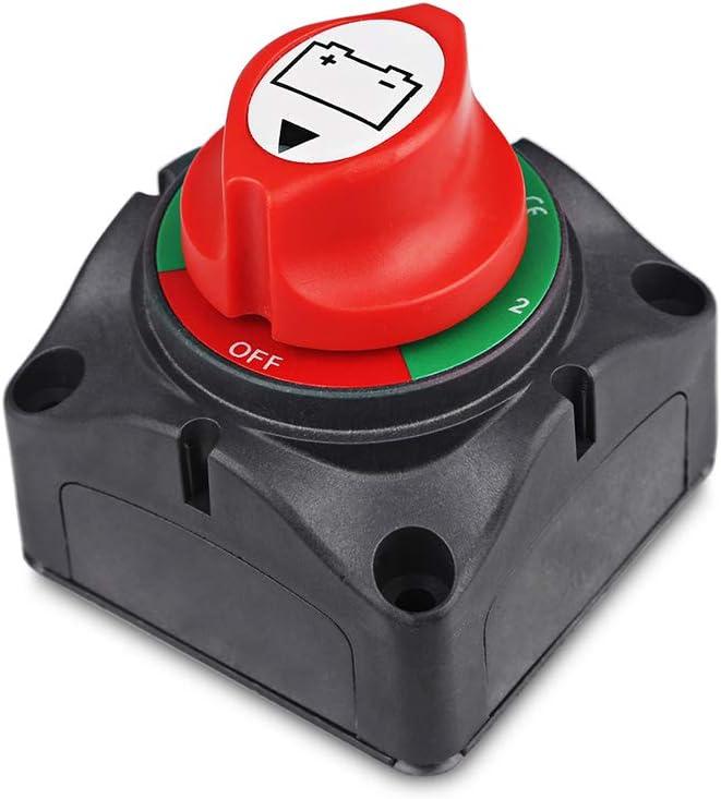 1-2-Both-Off Battery Switch 12V-60V Battery Disconnect Master Cut Shut Off for Marine Boat Car RV ATV Vehicle Heavy Duty Battery Isolator Switch: Automotive