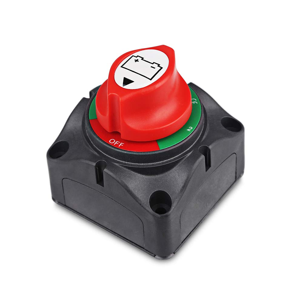 1-2-Both-Off Battery Switch 12V-60V Battery Disconnect Master Cut Shut Off for Marine Boat Car RV ATV Vehicle Heavy Duty Battery Isolator Switch