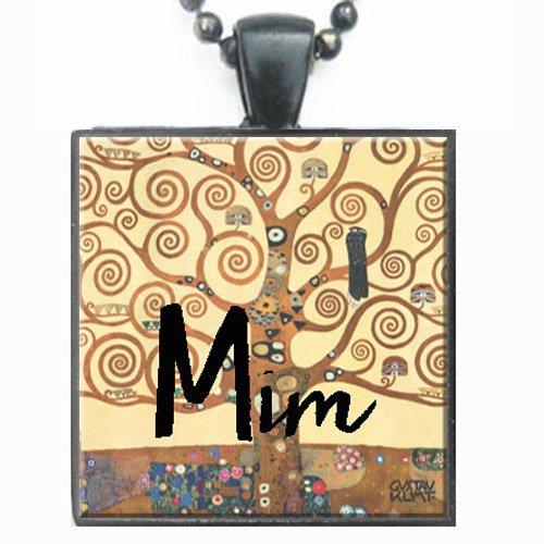 Mim Klimt Tree of Life Glass Tile Black Pendant Necklace W/chain