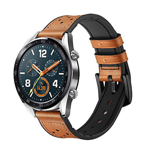 SPGUARD Pulsera Compatible con Correa Huawei Watch GT 2 46mm Huawei Watch GT Correas Huawei Watch GT Active,Pulsera de Repuesto de Cuero de 22mm ...