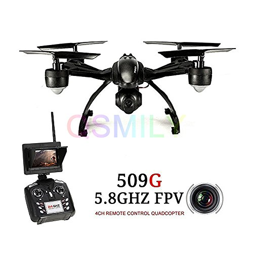 Qsmily 509G FPV Drone with HD 2MP Camera Live Video RC Quadcopter with FPV Monitor Screen on Remote , Altitude Hold & Headless Mode & One Key Return