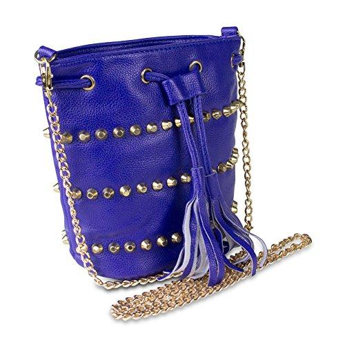 Mad Style Studded Drawstring Crossbody Bag, Blue Studded Drawstring