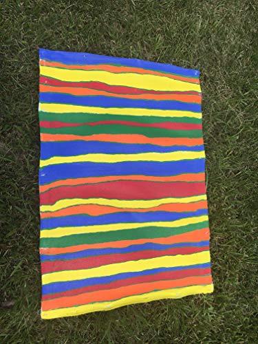 - Stripe Bold Primary Colors Handpainted Folk Art door mat Floor Cloth rug 23