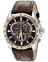 Citizen Men's Perpetual Chronograph AT Eco-Drive Brown Leather Strap Watch 42mm AT4001-00X