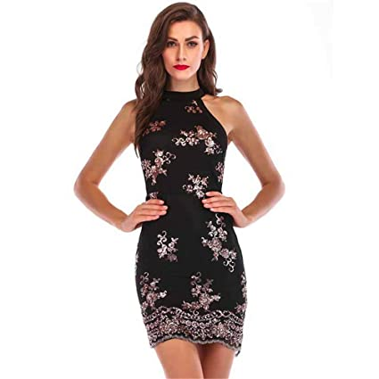 f7a742ae691 Womens Sleeveless Sparkling Sequins Floral Clubwear Party Bodycon ...