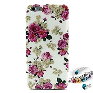 LCJ Hemming Peony Pattern TPU Back Cover Case and Dust Plug for iPhone 6 Plus