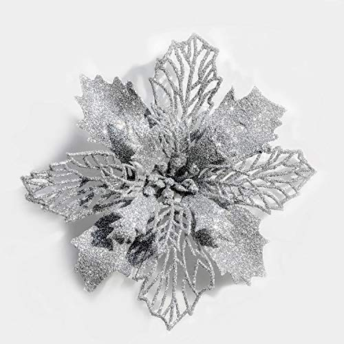 Poinsettia Silver - Mobuy Poinsettia Christmas Decorations Christmas Flowers Glitter Christmas Tree Decorations and Ornaments (12 Pack)(Slivery)