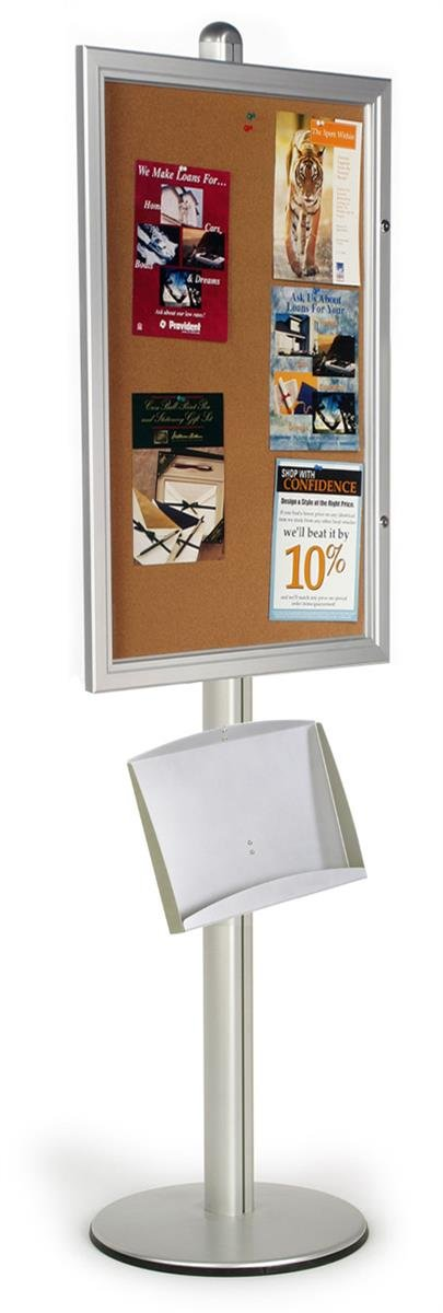 Floor Standing Bulletin Board, 24'' x 36'', Locking Door, Literature Tray for Pamphlets and Brochures (Steel and Aluminum)