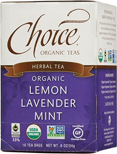 Choice Organic Caffeine Free Lemon Lavender Mint Herbal Tea, 16 Count (Lavender Green Tea)