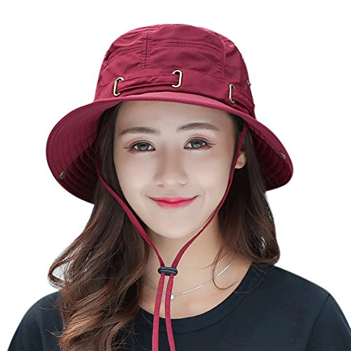 Waterproof Summer Outdoor Bucket Hat with Wide Brim UV Protection UPF 50+ Sun Hat Fishing Hunting Hiking Rain Hat Cap (Wine Red)