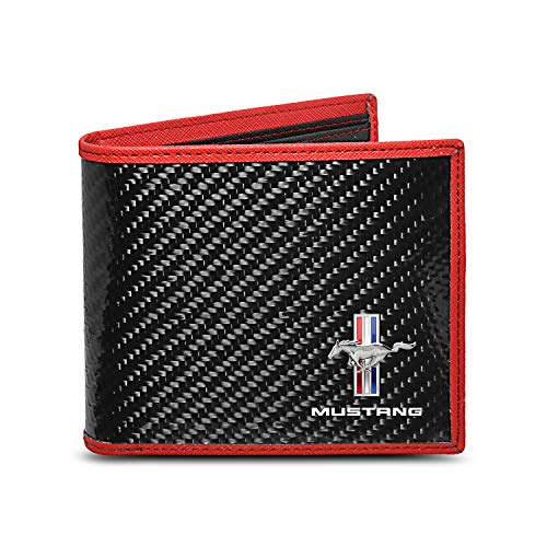 (Ford Mustang Tri-Bar Logo Real Premium Black Carbon Fiber Wallet with Red Stitched Edge Bi-fold Wallet)