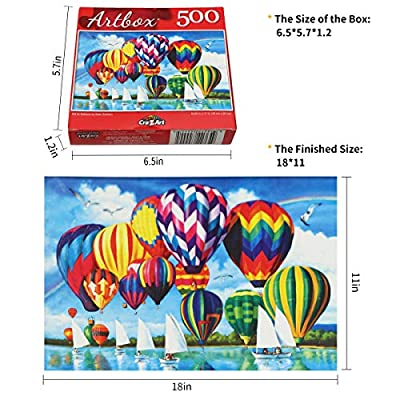 JUGROUPE 500 Pieces Large Jigsaw Puzzles for Adults, 18×11 Inch Puzzles for Children and Teens Ages 6 and up, Landcscape Difficult Puzzle Art for Men and Women (Hot Air Balloon Style 2): Toys & Games