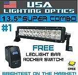 #1 13.5'' USA Lighting Optics TM LED Light Bar 12'' of LED's Flood/Spot Combo Beam-3w LED's 72w 4,500 Lumen, Off Road, Polaris RZR, UTV, Trucks, Raptor, Jeep, Bumper Rock