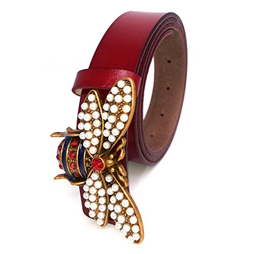 d68f37495e3 Amazon.com  MoYoTo Women 1.10″ Thin Genuine Leather Fashion Bee Designer  Buckle Belt With Pearl (Brown)  Clothing