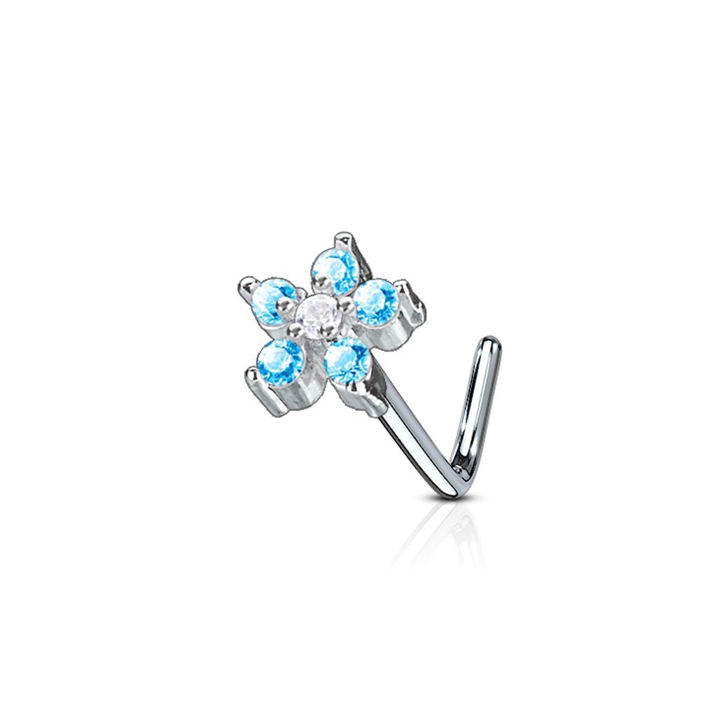 Fifth Cue 20G 6 CZ Flower316L Surgical Steel L Bend Nose Stud Ring - Choose Color (Aqua/Clear)
