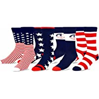 TeeHee Mens Novelty Fashion American Cotton Socks 4 Pair Pack