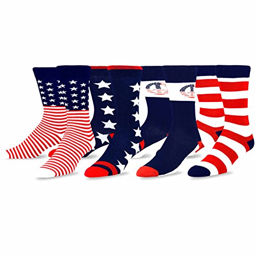 TeeHee Mens Novelty Fashion American Cotton Socks 4 Pair Pack (I Love USA)
